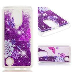Purple Flower Butterfly Dynamic Liquid Glitter Quicksand Soft TPU Case for LG K8 2017 US215 American version LV3 MS210