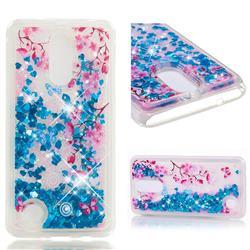 Blue Plum Blossom Dynamic Liquid Glitter Quicksand Soft TPU Case for LG K8 2017 US215 American version LV3 MS210