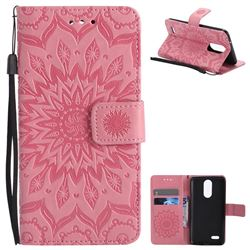 Embossing Sunflower Leather Wallet Case for LG K8 2017 US215 American version LV3 MS210 - Pink