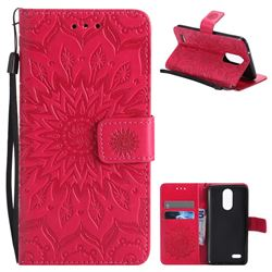 Embossing Sunflower Leather Wallet Case for LG K8 2017 US215 American version LV3 MS210 - Red