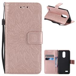 Embossing Sunflower Leather Wallet Case for LG K8 2017 US215 American version LV3 MS210 - Rose Gold