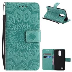 Embossing Sunflower Leather Wallet Case for LG K8 2017 US215 American version LV3 MS210 - Green