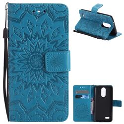 Embossing Sunflower Leather Wallet Case for LG K8 2017 US215 American version LV3 MS210 - Blue