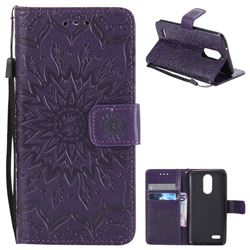 Embossing Sunflower Leather Wallet Case for LG K8 2017 US215 American version LV3 MS210 - Purple