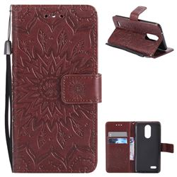 Embossing Sunflower Leather Wallet Case for LG K8 2017 US215 American version LV3 MS210 - Brown