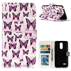 Butterflies Stickers 3D Relief Oil PU Leather Wallet Case for LG K8 2017 US215 American version LV3 MS210