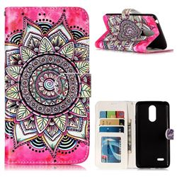 Rose Mandala 3D Relief Oil PU Leather Wallet Case for LG K8 2017 US215 American version LV3 MS210