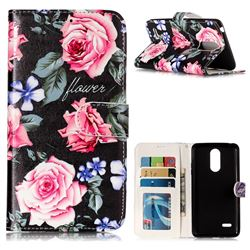 Peony 3D Relief Oil PU Leather Wallet Case for LG K8 2017 US215 American version LV3 MS210