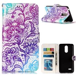Purple Lotus 3D Relief Oil PU Leather Wallet Case for LG K8 2017 US215 American version LV3 MS210