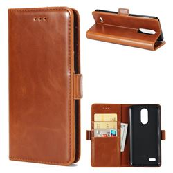Luxury Crazy Horse PU Leather Wallet Case for LG K8 2017 US215 American version LV3 MS210 - Brown
