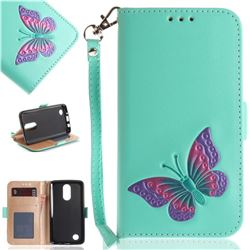 Imprint Embossing Butterfly Leather Wallet Case for LG K8 2017 US215 American version LV3 MS210 - Mint Green