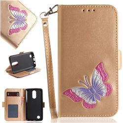 Imprint Embossing Butterfly Leather Wallet Case for LG K8 2017 US215 American version LV3 MS210 - Golden