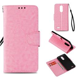Retro Phantom Smooth PU Leather Wallet Holster Case for LG K8 2017 US215 American version LV3 MS210 - Pink