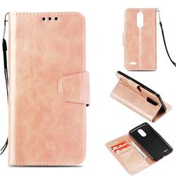 Retro Phantom Smooth PU Leather Wallet Holster Case for LG K8 2017 US215 American version LV3 MS210 - Rose Gold