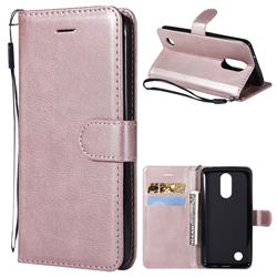Retro Greek Classic Smooth PU Leather Wallet Phone Case for LG K8 2017 US215 American version LV3 MS210 - Rose Gold