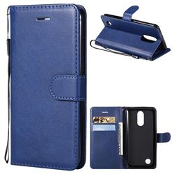 Retro Greek Classic Smooth PU Leather Wallet Phone Case for LG K8 2017 US215 American version LV3 MS210 - Blue