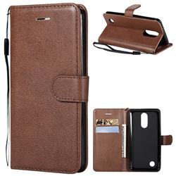 Retro Greek Classic Smooth PU Leather Wallet Phone Case for LG K8 2017 US215 American version LV3 MS210 - Brown