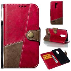 Retro Magnetic Stitching Wallet Flip Cover for LG K8 2017 US215 American version LV3 MS210 - Rose Red