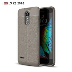 Luxury Auto Focus Litchi Texture Silicone TPU Back Cover for LG K8 (2018) / LG K9 - Gray