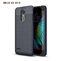 Luxury Auto Focus Litchi Texture Silicone TPU Back Cover for LG K8 (2018) / LG K9 - Dark Blue