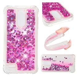 Dynamic Liquid Glitter Sand Quicksand TPU Case for LG K8 (2018) - Pink Love Heart