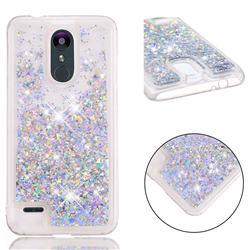 Dynamic Liquid Glitter Quicksand Sequins TPU Phone Case for LG K8 (2018) / LG K9 - Silver