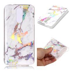 White Marble Pattern Bright Color Laser Soft TPU Case for LG K8 (2018) / LG K9