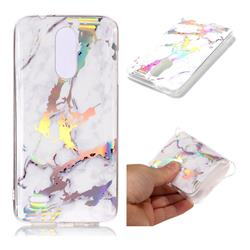 White Marble Pattern Bright Color Laser Soft TPU Case for LG K8 (2018)