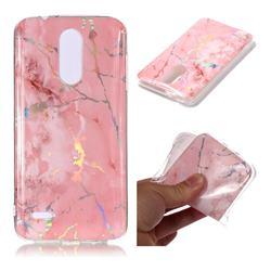 Powder Pink Marble Pattern Bright Color Laser Soft TPU Case for LG K8 (2018) / LG K9