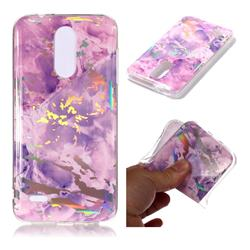Purple Marble Pattern Bright Color Laser Soft TPU Case for LG K8 (2018) / LG K9
