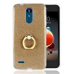 Luxury Soft TPU Glitter Back Ring Cover with 360 Rotate Finger Holder Buckle for LG K8 (2018) - Golden