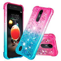 Rainbow Gradient Liquid Glitter Quicksand Sequins Phone Case for LG K8 (2018) - Pink Blue