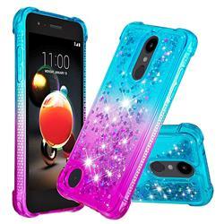 Rainbow Gradient Liquid Glitter Quicksand Sequins Phone Case for LG K8 (2018) - Blue Purple