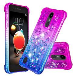 Rainbow Gradient Liquid Glitter Quicksand Sequins Phone Case for LG K8 (2018) - Purple Blue