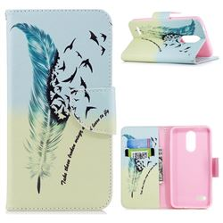 Feather Bird Leather Wallet Case for LG K8 (2018)