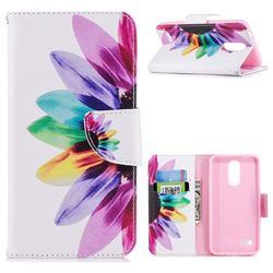 Seven-color Flowers Leather Wallet Case for LG K8 (2018) / LG K9