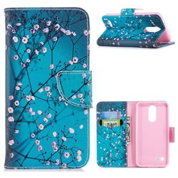 Blue Plum Leather Wallet Case for LG K8 (2018)