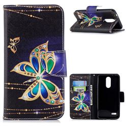 Golden Shining Butterfly Leather Wallet Case for LG K8 (2018)