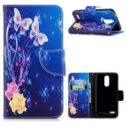 Yellow Flower Butterfly Leather Wallet Case for LG K8 (2018)