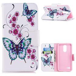 Peach Butterflies Leather Wallet Case for LG K8 (2018) / LG K9
