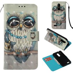 Sweet Gray Owl 3D Painted Leather Wallet Case for LG K8 (2018) / LG K9