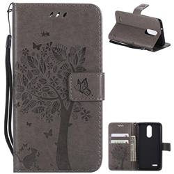 Embossing Butterfly Tree Leather Wallet Case for LG K8 (2018) / LG K9 - Grey
