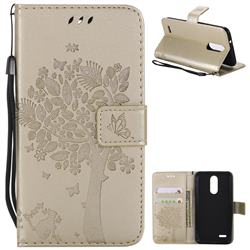 Embossing Butterfly Tree Leather Wallet Case for LG K8 (2018) / LG K9 - Champagne