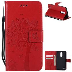 Embossing Butterfly Tree Leather Wallet Case for LG K8 (2018) / LG K9 - Red