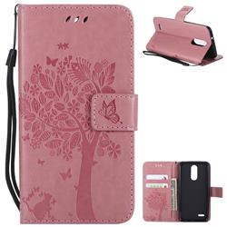 Embossing Butterfly Tree Leather Wallet Case for LG K8 (2018) / LG K9 - Pink