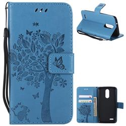Embossing Butterfly Tree Leather Wallet Case for LG K8 (2018) / LG K9 - Blue