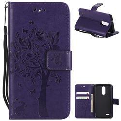 Embossing Butterfly Tree Leather Wallet Case for LG K8 (2018) / LG K9 - Purple