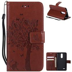 Embossing Butterfly Tree Leather Wallet Case for LG K8 (2018) / LG K9 - Brown