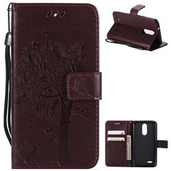 Embossing Butterfly Tree Leather Wallet Case for LG K8 (2018) / LG K9 - Coffee