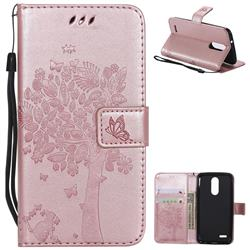 Embossing Butterfly Tree Leather Wallet Case for LG K8 (2018) / LG K9 - Rose Pink